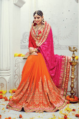 Red And Orange Wedding Sari (S0502)
