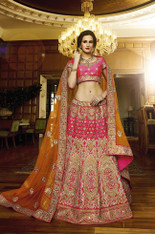 Pink And Orange Bridal Lehenga Choli (L0143)