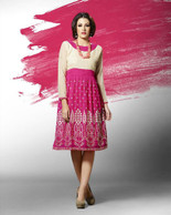 Beige And Pink Color Georgette Kurti (T0121)