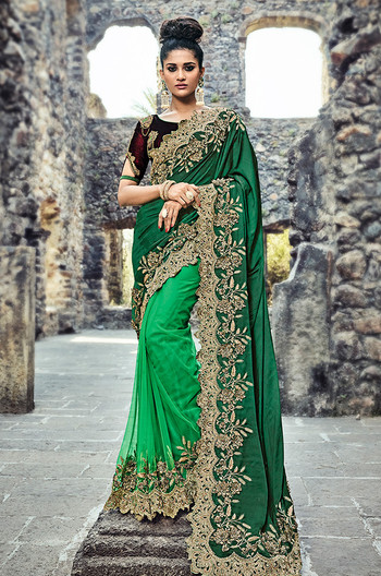 Green Color Net Wedding Sari (S0580)