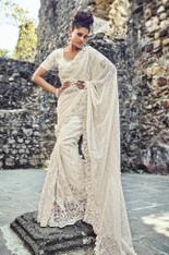 Off White Color Net Wedding Sari (S0581)