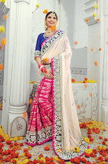 Pink And Off White Georgette Saree (S0491)