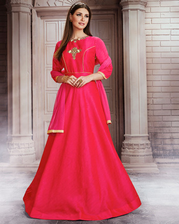 Red Color Raw Silk Gown (D0996)