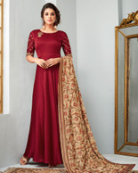 Maroon Gown Style Dress (D1018)