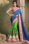 Parrot Green And Blue Indian Wedding Saree (S0282)