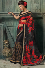Black And Red Saree (S0305)