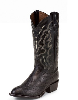 Tony Lama EXOTIC WESTERN BLACK SMOOTH OSTRICH #CT871