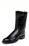 "MEN'S JUSTIN BROCK ROPER BLACK SMOOTH OSTRICH / 10"" BLACK CLASSIC KID SKIN #3172"