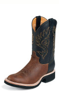 "MEN'S JUSTIN PALUXY BROWN TEKNO CREPE® COFFEE WESTERNER WITH BULLHIDE COUNTER/ 11"" BLACK WESTERNER Made in the USA #5008"