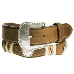 "BROWN BUCKAROO 1 1/2"" LEATHER WITH SILVER CONCHO AND SILVER BUCKLE #79807"