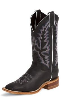 "Justin Women's BENT RAIL COLLECTION 11"" BLACK BURNISHED CALF #BRL316"
