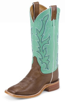 "Justin Women's BENT RAIL COLLECTION 13"" CHOCOLATE BURNISHED CALF/SEAGREEN PLUSH #BRL310"