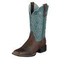 Women's Ariat Boots QUICKDRAW BROWN OILED ROWDY / SAPPHIRE BLUE  #10004720 (14012)