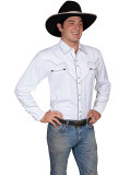 Scully Men's Long Sleeve Western Shirt White #P-726-WHT