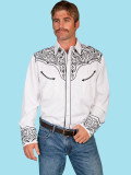 Scully Men's Long Sleeve Western Shirt Black #P-815-WHT