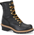 "Men's Carolina Elm 8"" Black Steel Toe Logger #CA1825"