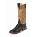 "MEN'S JUSTIN PASCOE AQHA REMUDA BLACK SMOOTH OSTRICH / 13"" ANTIQUE TAN VINTAGE GOAT Made in the USA #5507"