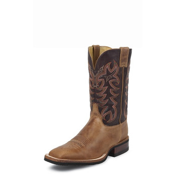 "Men's Justin CALIMERO AQHA Q-CREPE AMERICA TAN COWHIDE /11"" CHOCOLATE THOROUGHBRED Made in the USA #7051"
