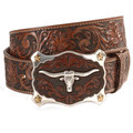 "JUSTIN TOOLED BELT Tan Classic Longhorn 1 1/2"" #C11194"