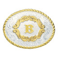 Montana Silversmiths Gold Filigree Initial Western Belt Buckle #5000B