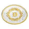 Montana Silversmiths Gold Filigree Initial Western Belt Buckle #5000D