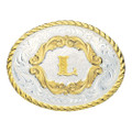 Montana Silversmiths Gold Filigree Initial Western Belt Buckle #5000L