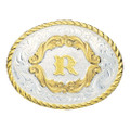 Montana Silversmiths Gold Filigree Initial Western Belt Buckle #5000R