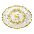 Montana Silversmiths Gold Filigree Initial Western Belt Buckle #5000S