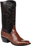 MEN'S LUCCHESE CHARLES SIENNA CAIMAN BELLY AND DARK BROWN #M1635.14