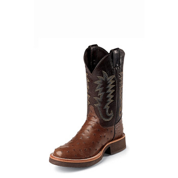 """MEN'S JUSTIN PALUXY TEKNO CREPE® ANTIQUE BROWN FULL QUILL OSTRICH /11"""" CHOCOLATE CALFINO Made in the USA #5031"""