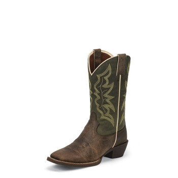 "MEN'S JUSTIN WYLIE STAMPEDE COLLECTION WAXY BROWN / 12"" GREEN GREEN ASPART #2569"