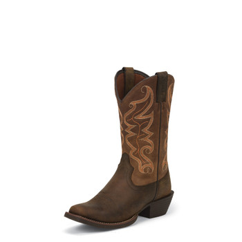 """MEN'S JUSTIN KAVEN STAMPEDE COLLECTION 12"""" WAXY BROWN #2571"""