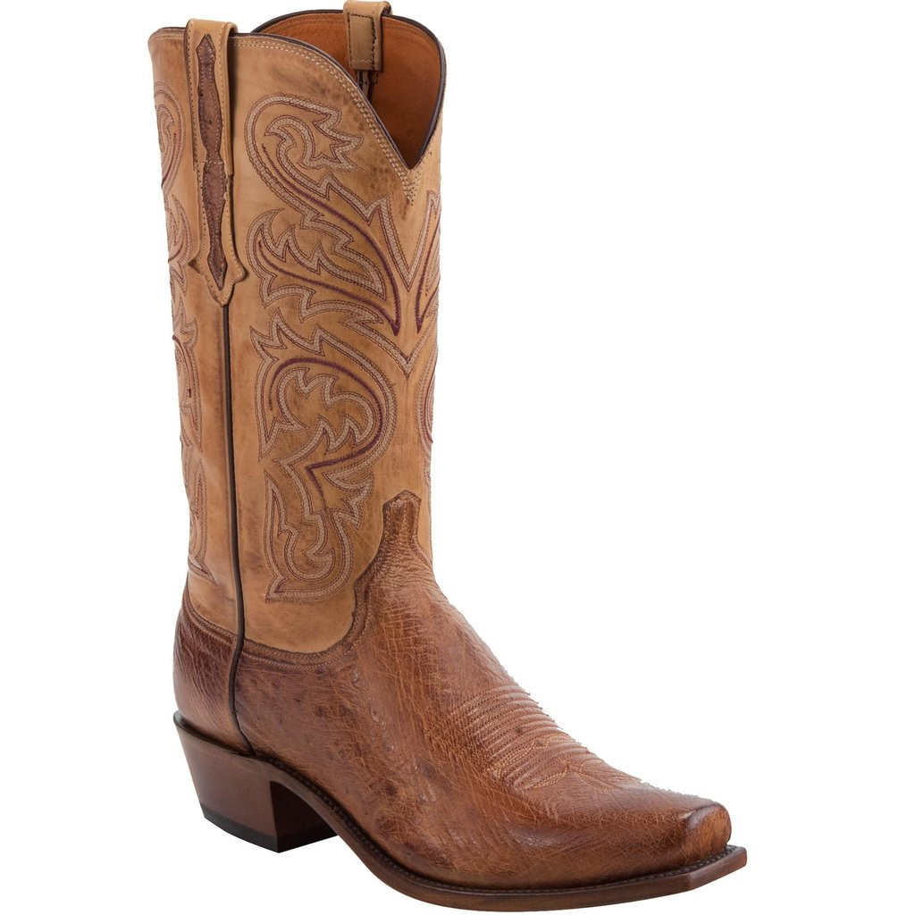 8b2df5b049a MEN'S LUCCHESE NATHAN BARNWOOD SMOOTH OSTRICH/ANTIQUE SADDLE #N1160 ...