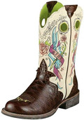 "Women's Ariat Boots Rodeobaby Rocker Boot 10"" Chestnut Anteater Print/ Screen printed tattoo design #10006757"