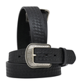"3-D Western Belt Basketweave embossed single-row stitching 1 1/2""  #7150-BK"