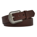 "3-D Western Belt Basketweave embossed single-row stitching 1 1/2""  #7154-BR"