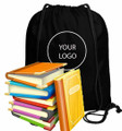 Personalized Canvas Drawstring Backpack Black