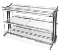 "Here is an  example of a 28-40-3 rack. Note the side by side 20"" shelves."