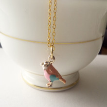 Enameled Bird Charm 18 KT Gold Necklace