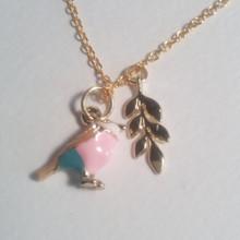 Enameled Bird & Leaf Charm 18 KT Gold Necklace