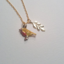 Bird & Leaf Charm 18 KT Gold Necklace