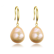 Large natural peach colour baroque pearl on gold plated on silver hooks www.pennybadger.com