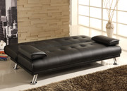 #80276 Faux Leather Sofa Futon convertible with 2 arm rests