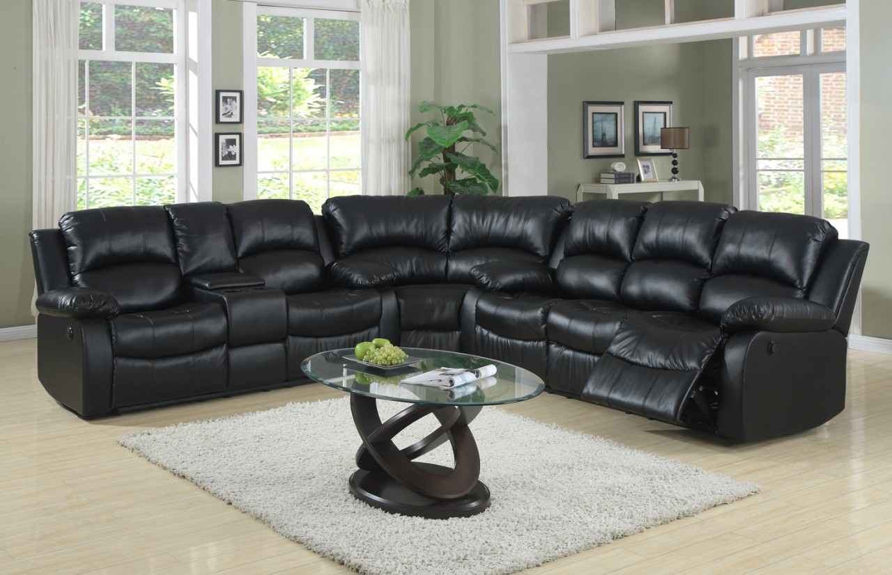 80474 Bonded Leather Sectional Reclining Sofa, Love and Wedge, 4 ...