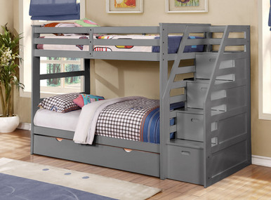 Cosmo in Rustic Grey(31) with Staircase Twin/Twin Bunkbed with Trundle (13/13 slats)