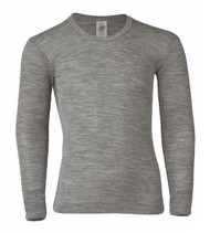 Engel Organic Wool/ Silk Children's Long Sleeved Shirt Color: Grey Melange
