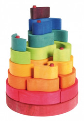 Grimm's Wooden Seven Steps Stacking Tower
