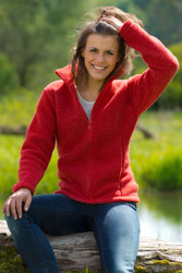 Organic Thick Wool Fleece Women's Jacket Color: Cranberry Melange