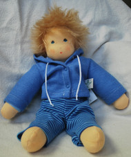 Organic Cotton Waldorf Doll- Boy Doll with Blue Jacket