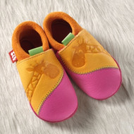 "Handmade Natural Leather Soft-Soled Indoor Slippers - ""Giraffe"" in Mango/ Pink"